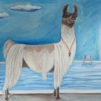 "Lifeguard Llama (2015)• 16"" x 20""• Oil on Canvas• NFS"